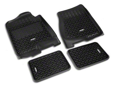 Rugged Ridge All-Terrain Front & 2nd Row Floor Liners - Black (07-13 Sierra 1500 Extended Cab, Crew Cab)