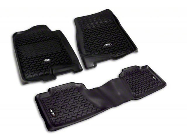 Rugged Ridge All-Terrain Front & 2nd Row Floor Mats - Black (07-13 Sierra 1500 Crew Cab)