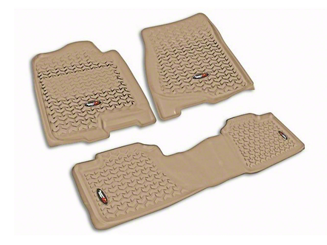 Rugged Ridge All-Terrain Front & 2nd Row Floor Mats - Tan (07-13 Sierra 1500 Extended Cab, Crew Cab)