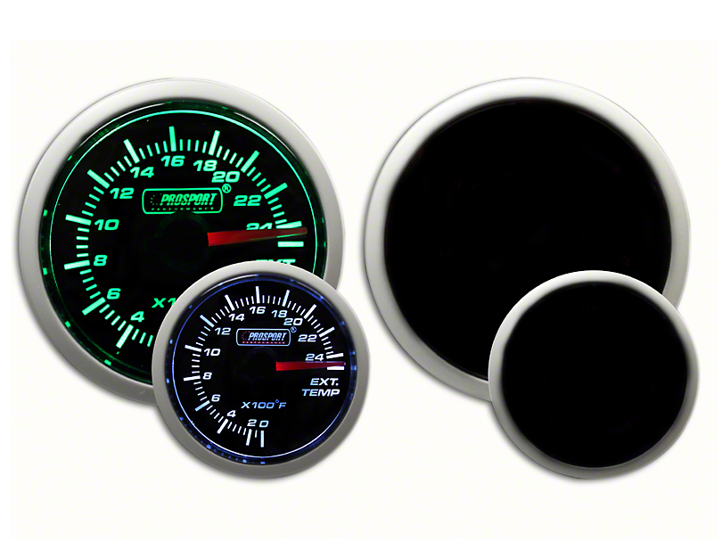 Prosport Dual Color Exhaust Gas Temperature Gauge - Green/White (07-19 Sierra 1500)