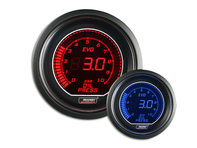 Prosport Dual Color Evo 0-10 BAR Oil Pressure Gauge - Electrical - Red/Blue (07-19 Sierra 1500)