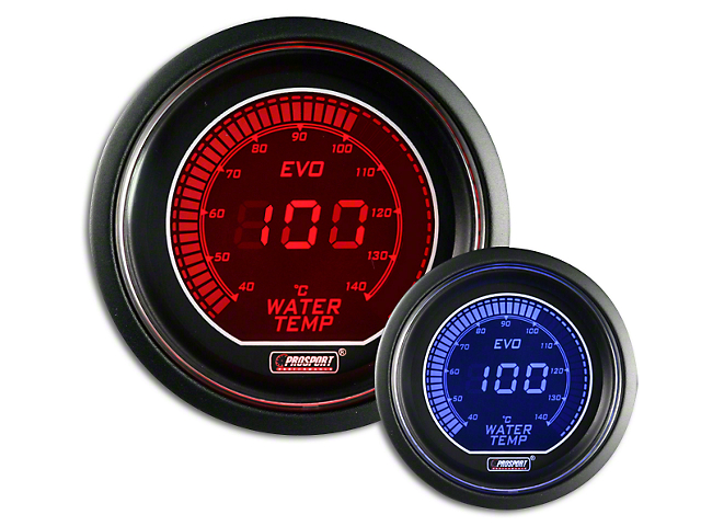 Prosport Dual Color Evo Celsius Water Temperature Gauge - Electrical - Red/Blue (07-19 Sierra 1500)