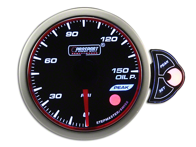 Prosport 52mm Halo Premium Series Oil Pressure Gauge; Electrical; Blue/White/Amber (Universal Fitment)