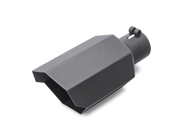 Proven Ground 5-Inch Black Stagger Cut Exhaust Tip; 2.75-Inch Connection (Universal Fitment)