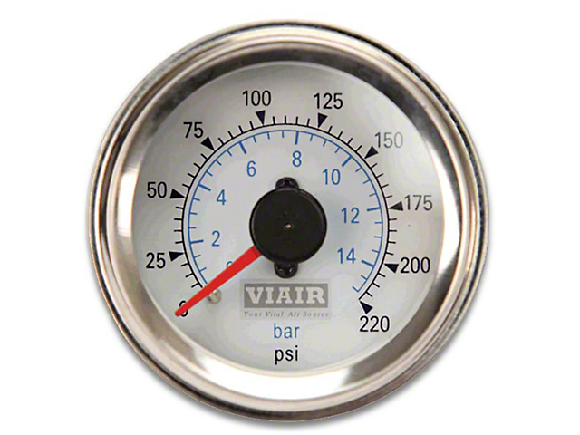 Viair Dual Needle Air Pressure Gauge - White Face (07-19 Sierra 1500)