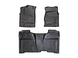 Rough Country Heavy Duty Front and Rear Floor Mats; Black (14-18 Sierra 1500 Double Cab w/ Half Length Floor Console)