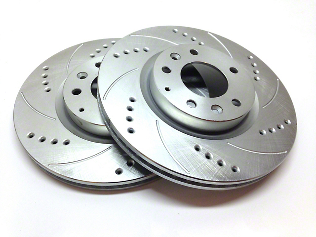 SP Performance Cross-Drilled and Slotted Rotors with Silver Zinc Plating; Front Pair (07-18 Sierra 1500)