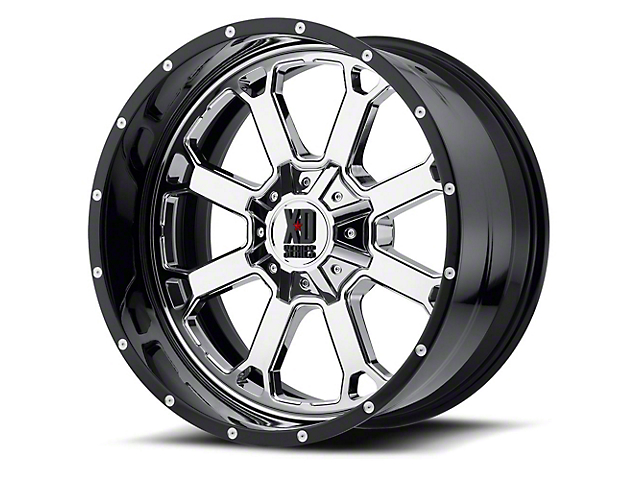 XD Buck 25 Chrome with Gloss Black Milled 6-Lug Wheel; 22x12; -44mm Offset (14-18 Sierra 1500)