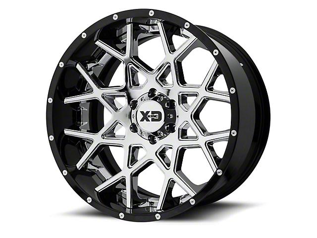 XD Chopstix Chrome with Gloss Black Milled 6-Lug Wheel; 22x12; -44mm Offset (14-18 Sierra 1500)