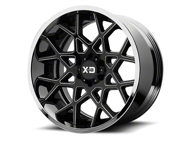 XD Chopstix Gloss Black Milled with Chrome Lip 6-Lug Wheel; 22x12; -44mm Offset (14-18 Sierra 1500)