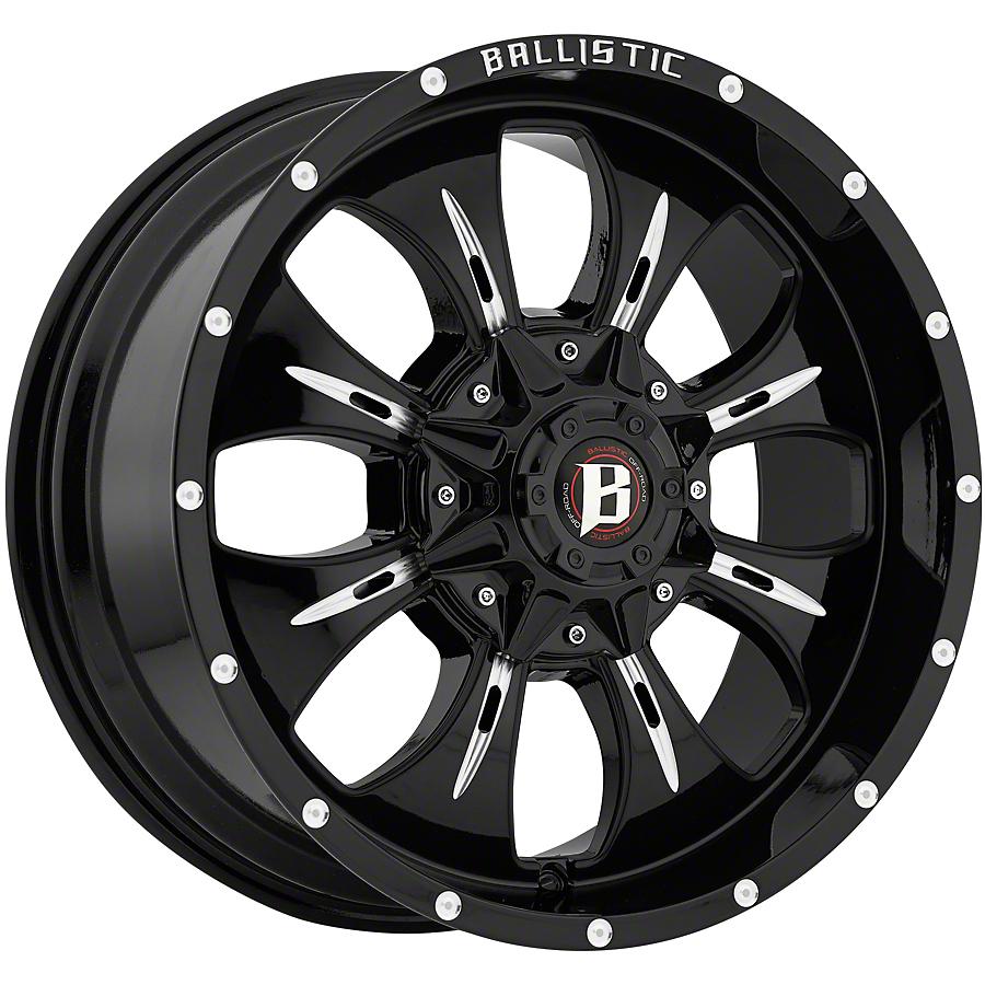 Ballistic Dagger Gloss Black Milled 6-Lug Wheel - 20x9 (07-18 Sierra 1500)