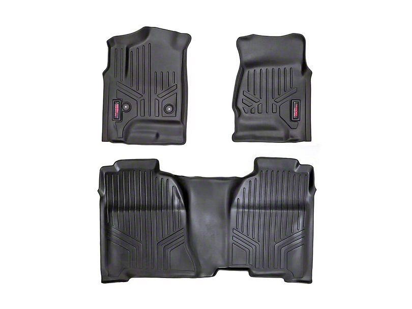 Rough Country Heavy Duty Front and Rear Floor Mats; Black (07-13 Sierra 1500 Extended Cab, Crew Cab)