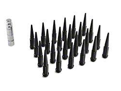 Black Spike Lug Nut Kit; 14mm x 1.5; Set of 24 (99-21 Sierra 1500)