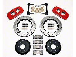 Wilwood AERO6 Front Big Brake Kit with Drilled and Slotted Rotors; Red Calipers (99-18 Sierra 1500)
