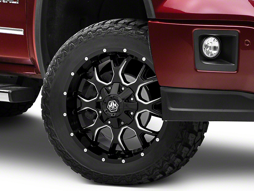 Mayhem Wheels Warrior Black Milled 6-Lug Wheel; 17x9; 18mm Offset (15-20 F-150)