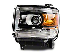 Factory Style Projector Headlights; Chrome Housing; Clear Lens; Driver Side (14-18 Sierra 1500)