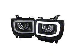 Light Bar DRL Projector Headlights; Black Housing; Clear Lens (14-18 Sierra 1500 w/ Factory LED DRL)