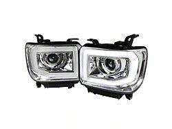 Light Bar DRL Projector Headlights; Chrome Housing; Clear Lens (14-18 Sierra 1500 w/ Factory LED DRL)