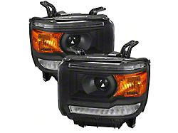 LED DRL Projector Headlights; Matte Black Housing; Clear Lens (14-18 Sierra 1500 w/ Factory LED DRL)