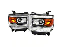 LED DRL Projector Headlights; Chrome Housing; Clear Lens (14-18 Sierra 1500 w/ Factory LED DRL)