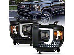 Plank Style Projector Headlights; Black Housing; Clear Lens (14-15 Sierra 1500 w/ Factory Halogen Headlights)