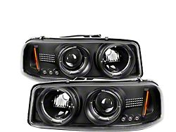 Signature Series LED Halo Projector Headlights; Black Housing; Clear Lens (99-06 Sierra 1500)