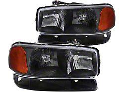 Factory Style Headlights with Bumper Lights; Matte Black Housing; Clear Lens (99-06 Sierra 1500)