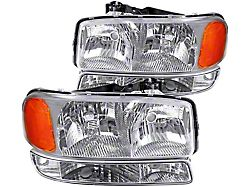 Factory Style Headlights with Bumper Lights; Chrome Housing; Clear Lens (99-06 Sierra 1500)