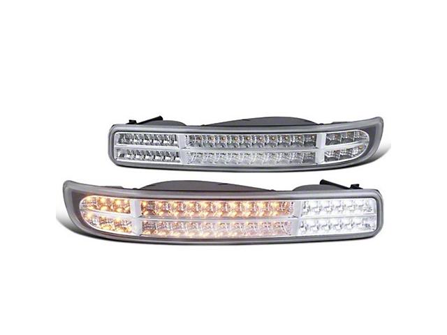 Bumper Lights; Sequential Turn Signal; Clear; Chrome (99-06 Sierra 1500)