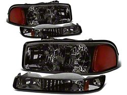 4-Piece Headlights with Amber Corner Lights; Smoked Housing; Clear Lens (99-06 Sierra 1500)