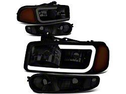 LED DRL Headlights with Amber Corner Nights; Black Housing; Smoked Lens (02-06 Sierra 1500 Denali)