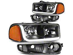 LED DRL Headlights with Amber Corner Nights; Black Housing; Clear Lens (02-06 Sierra 1500 Denali)