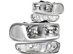LED DRL Headlights with Clear Corner Nights; Chrome Housing; Clear Lens (02-06 Sierra 1500 Denali)