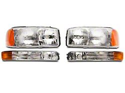 Axial OEM Style Replacement Headlights; Chrome Housing; Clear Lens (99-06 Sierra 1500)