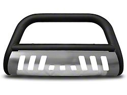 Armordillo Bumper Push Bar; Bull Guard; With Aluminum Skid Plate; 3-Inch Tubing; Matte Black (99-06 Sierra 1500)