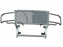 Rugged Grille Guard; Black Steel Modular; Includes 20-Inch Single LED Light Bar with Wiring Harness, Mounting Brackets and Hardware (14-18 Sierra 1500)