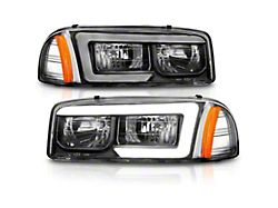 Axial LED DRL Headlights; Black Housing; Clear Lens (99-06 Sierra 1500)