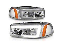 Axial LED DRL Headlights; Chrome Housing; Clear Lens (99-06 Sierra 1500)
