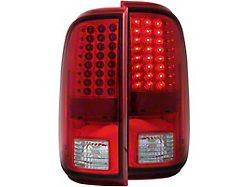 LED Tail Lights; Chrome Housing; Red Lens (11-16 F-250/F-350 Super Duty)