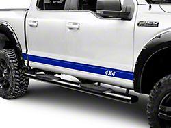 SEC10 Rocker Stripes with 4x4 Logo; Blue (11-22 F-250/F-350 Super Duty)