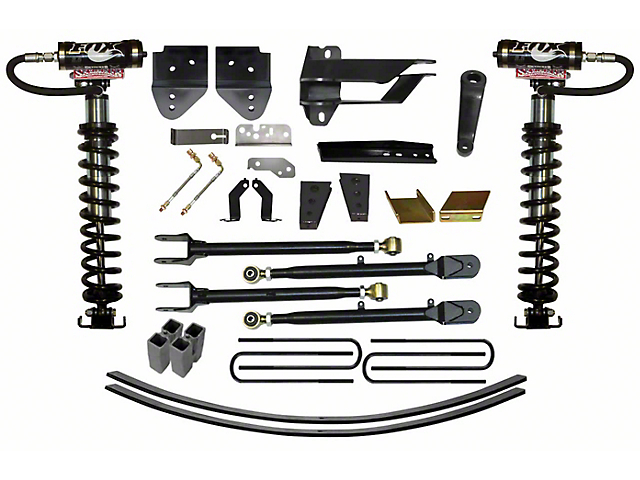 SkyJacker 8 5 in  Coil-Over Kit w/ 4-Link Conversion, Lift Blocks & Rear  Add-A-Leaf Springs (17-19 4WD F-250 Super Duty)