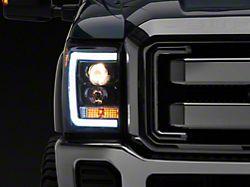 Light Bar DRL Projector Headlights; Gloss Black Housing; Smoked Lens (11-16 F-250/F-350 Super Duty)