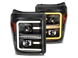 Raxiom LED Projector Headlights with Switchback Turn Signals; Black Housing; Clear Lens (11-16 F-250/F-350 Super Duty)
