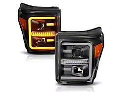 Plank Style Switchback Projector Headlights; Black Housing; Clear Lens (11-16 F-250/F-350 Super Duty)