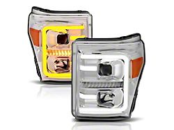 Plank Style Switchback Projector Headlights; Chrome Housing; Clear Lens (11-16 F-250/F-350 Super Duty)