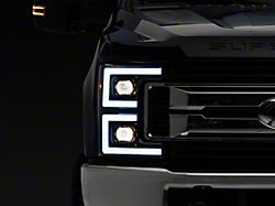 Projector Headlights with Sequential Turn Signals; Matte Black Housing; Clear Lens (17-19 F-250/F-350 Super Duty w/ Factory Halogen Headlights)