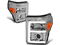 LED DRL Projector Headlights with Amber Corner Lights; Chrome Housing; Clear Lens (11-16 F-250 Super Duty)