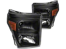 Factory Style Headlights with Amber Corner Lights; Black Housing; Clear Lens (11-16 F-250 Super Duty)