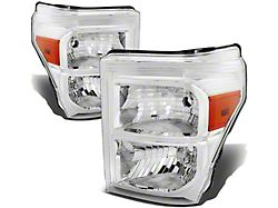 Factory Style Headlights with Amber Corner Lights; Chrome Housing; Clear Lens (11-16 F-250 Super Duty)