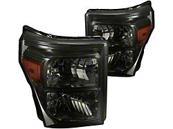Factory Style Headlights with Amber Corner Lights; Chrome Housing; Smoked Lens (11-16 F-250 Super Duty)